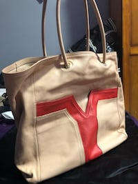 Yves St Laurent cream/red full bag/purse West Vancouver