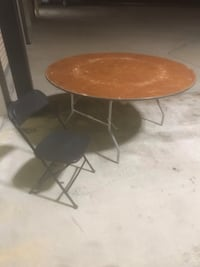 60' ROUND WOODEN TABLES(HEAVY DUTY)AND FOLDING CHAIRS FOR SALE!!!!
