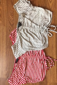 Two off the shoulder ruched tops size small