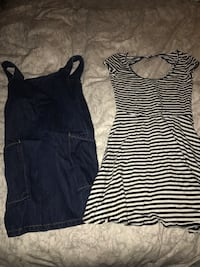 Jean dress and striped dress from American eagle and forever 21