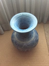 two round blue ceramic plates