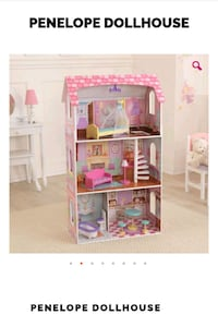 white and pink wooden dollhouse 32 mi