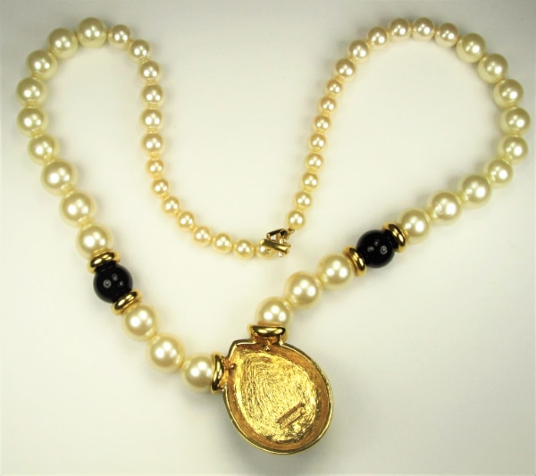 1980's Napier Pear Shaped Pearl Black Enamel Pendant With Necklace d14bf380-f64b-442d-af42-ee0eb7ecf350