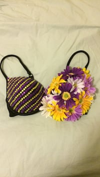 Purple and yellow floral festival bra 3489 km
