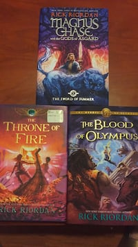 set of 3 Rick Riordan hardcover books. Throne of fire, Blood of Olympus, Magnus Chase Manassas, 20109