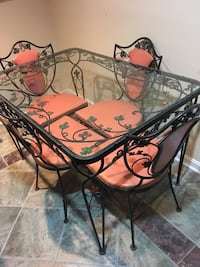 Vintage wrot iron glass top table, 4 chairs, kept indoors Bel Air, 21014