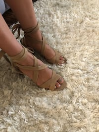 pair of brown leather open-toe heeled sandals Pharr, 78577