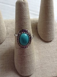 Women's Adjustable Turquoise Ring Sterling, 20166