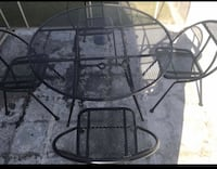 Mid century modern foldable patio set table with chairs  Bakersfield