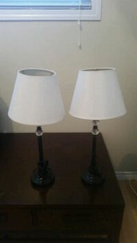 two black-and-white table lamps