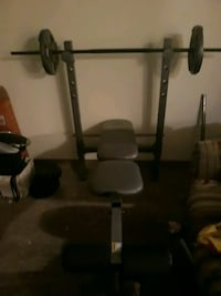 Weight bench and weights with bar
