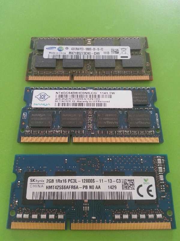 2 adet 4 gb - 1 adet 2 gb laptop ram