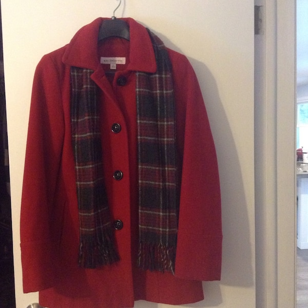 red button-up jacket