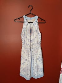 white and blue floral scoop-neck sleeveless dress London