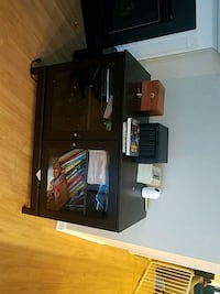 black wooden TV stand with flat screen TV Arlington, 22206