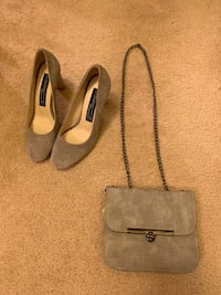 Grey size 7 heels and grey matching purse only $20 Arlington, 22202