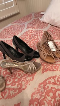 pair of brown leather ghillie sandals, pair of brown open-toe sling-back sandals and pair of black heeled shoes
