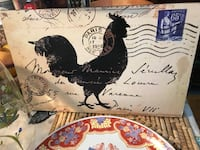 black and white rooster printed board wall decor