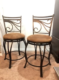 Set of New Iron Barstools~ Exquisite rotating seats w/rawhide cushions