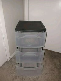 black and clear plastic 3-drawer chest 1206 mi