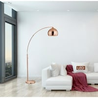 80 in.H - Alrigo Rose Copper LED Arched Dimmable Floor Lamp Houston