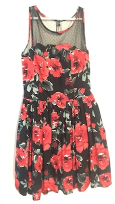 red and black floral illusion neckline mini dress size 12-14