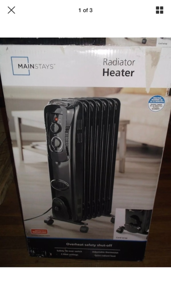 77cf9129507 Used MAINSTAYS RADIATOR ELECTRIC OIL SPACE HEATER PORTABLE THERMOSTAT BLACK  HO-0270B for sale in Brookhaven - letgo