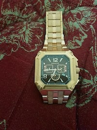 square silver chronograph watch with link bracelet Central Islip, 11722