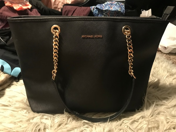 2b36caa9ca27 Used black Michael Kors leather tote bag for sale in Griffin - letgo
