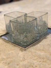Crushed Mirror Candle Holders