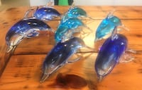 blue and teal glass dolphin figure lot Cheyenne, 82001