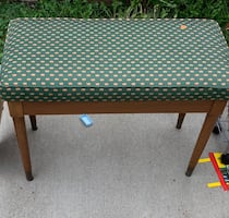 Vintage Wooden Bench w/ Upholstered Seat Cushion