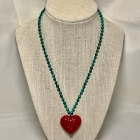 Natural Turquoise Beaded Necklace with Sterling Silver Clasp Ashburn, 20147