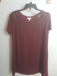 women's brown scoop-neck blouse