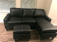 Brand New Black Faux Leather Sectional Sofa  Silver Spring