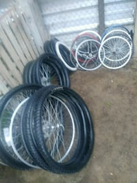 two black and gray bicycle wheels