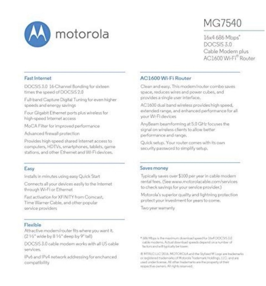 ... Motorola 16x4 High-Speed Cable Gateway with WiFi 686 Mbps DOCSIS 3.0 modem
