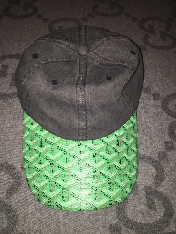 56d9d372f5e Used Goyard Custom made Dad Hat Black demin with lime green brim for sale  in New York - letgo