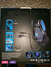 black and blue corded gaming mouse with box Springfield