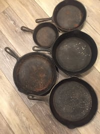 5 cast iron pans