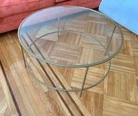 Glass coffee table with satin gold trim New York, 11209