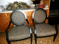 two black wooden framed white-and-brown leopard print padded armchairs Alpharetta, 30009