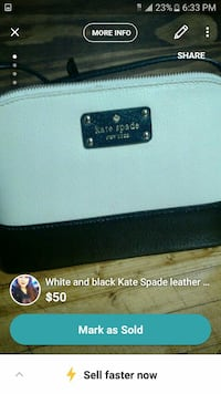 white and black Kate Spade leather zip wallet screenshot Pittsburgh, 15202