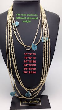 14k rope chains in different sizes and weight  Toronto, M6H 4B9