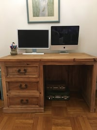 brown wooden TV stand with flat screen TV 37 km