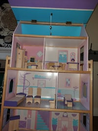 Giant Wooden DollHouse with Furniture and Figurines