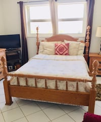Full size solid wood bed with full size mattress