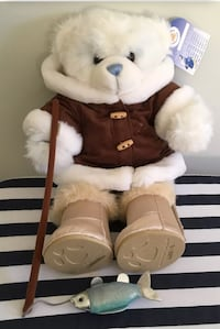 NEW BUILD A BEAR Blue Cuddle Teddie / Full Arctic Fisherman Outfit Christmas Toy Mc Lean, 22101