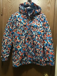 Blue and orange zip-up jacket