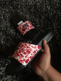 Custom painted nike slides bape x supreme